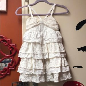 😍 Beautiful Ivory Girl Lace Accent Dress 💕Sz 7/8